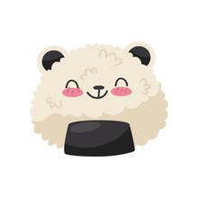 Rice In Panda Bear Shape, Cute Kawaii Food Cartoon Character Vector Illustration On A White Background