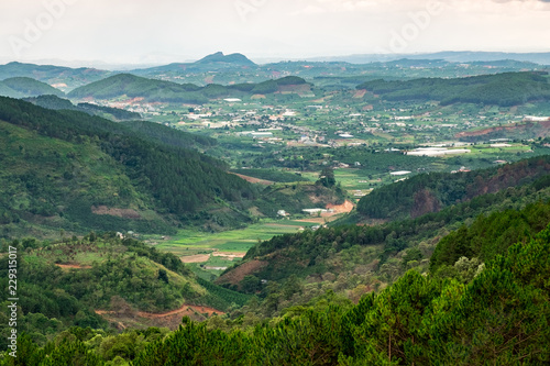 Panoramic view of mountains and valleys in Dalat, Vietnam