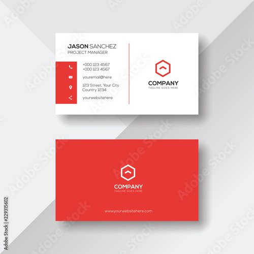 Simple and Clean Red and White Business Card Template Tapéta, Fotótapéta