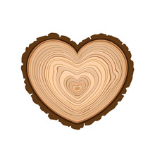 I Love Wood Cutting Tree As Symbol Of Heart Timber Rings And Bark