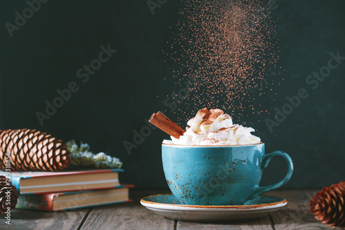 Foto auf Gartenposter Schokolade Hot chocolate with cream and cinnamon stick in a blue ceramic cup on a table with a books. The concept of winter or fall time.