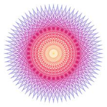Rays Of Radiating Light. Regular Beams Distribution. Circular Shape. Tattoo Design, Yoga Logo. Boho Print, Poster, T-shirt Textile. EPS10 Vector Illustration