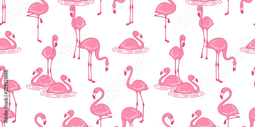 Cotton fabric Flamingo seamless pattern vector pink Flamingos exotic bird tropical summer scarf isolated tile background repeat wallpaper cartoon illustration