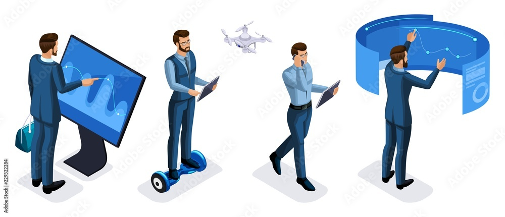 Fototapeta Isometric set of businessman with gadgets front view rear view, use tablets, smartphone, laptops, interactive screens, virtual reality
