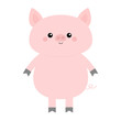 Pig. Cute cartoon funny baby character. Hog swine sow animal. Chinise symbol of 2019 new year. Zodiac sign. Flat design. White background. Isolated.