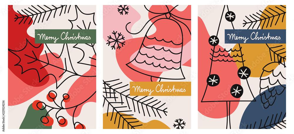 Fototapeta set of three christmas greeting cards