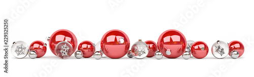 Obraz Red and silver christmas baubles isolated 3D rendering - fototapety do salonu