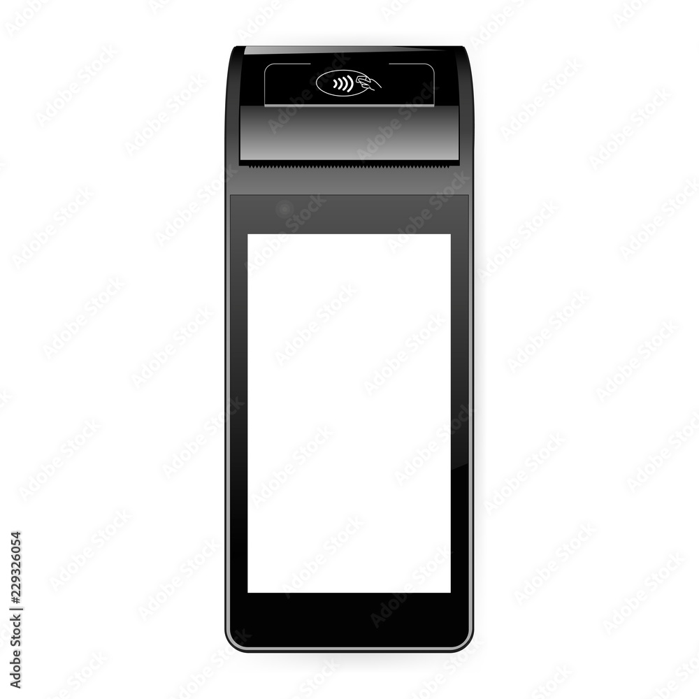Fototapeta Mobile payment terminal mockup - top view. POS terminal with blank screen isolated on white background. Vector illustration