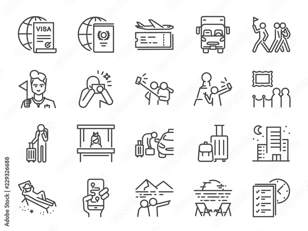 Fototapeta Tourism line icon set. Included icons as tourist, guide, traveler, vacation and more.