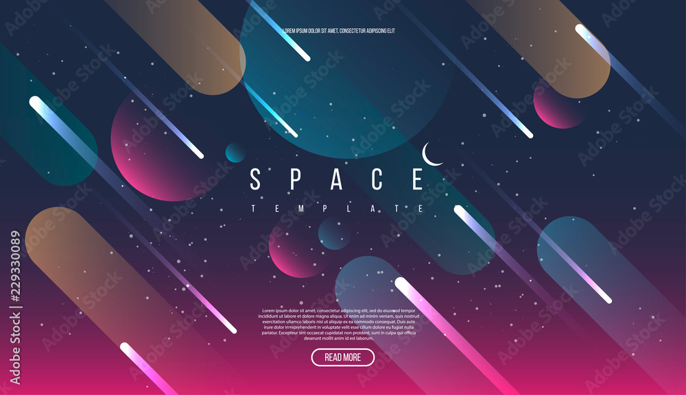 Fototapeta Vector Universe background for presentation design. Brochure template with space elements.