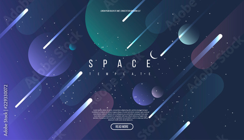 Fototapeta Vector Universe background for presentation design. Brochure template with space elements. obraz