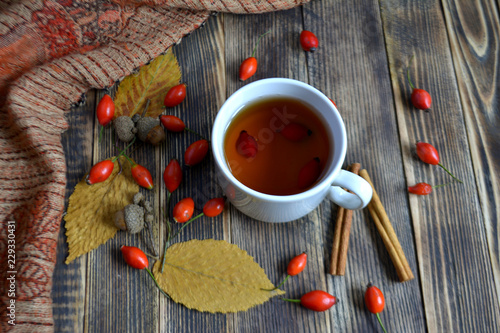 Autumn composition with rose hips nuts leaves a Cup of tea. A Cup of tea with rose hips. Autumn hot drink