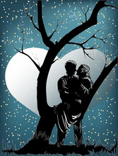 Two Lovers Under The Starry Sky By A Tree