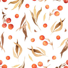 Watercolor Autumn Seamless Pattern Of Brown And Yellow Leaves And Red Berries. Background For Invitation And Greeting Card, Print And Wedding In Boho And Rustic Stile