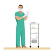 Man doctor in working form in sterile gloves and mask in the treatment room. Medical vector illustration.