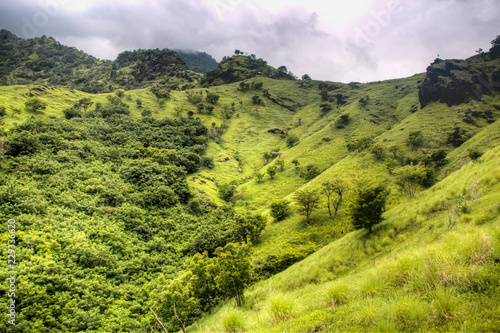 Landscape with green hills in Pemuteran in Bali, Indonesia