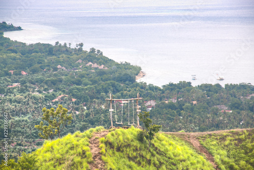 Fotobehang Wit Landscape with green hills in Pemuteran in Bali, Indonesia