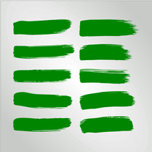 Vector Green Ink Paint Brush Stroke Set Hand Drawn Grunge Decorative Brush Strokes Design Element Collection Isolated Underline Circle Half And Border Design