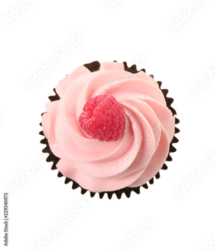 Photo  Tasty cupcake on white background