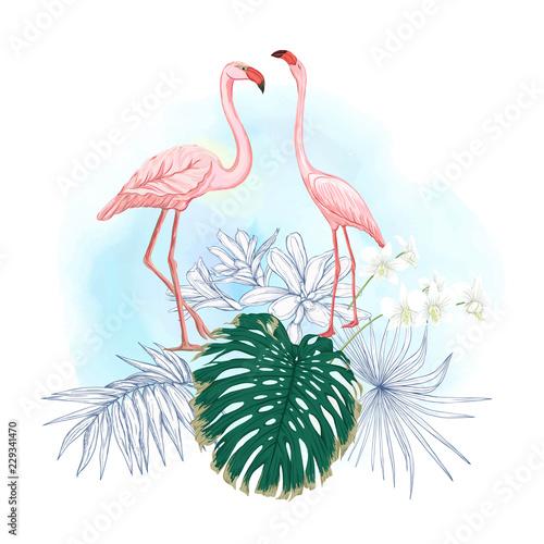 kompozycja-tropikalnych-roslin-lisci-palmowych