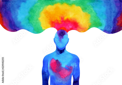 Photo  human mind brain spirit energy connect to the universe power abstract art waterc