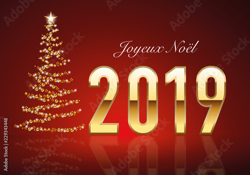 Classique carte de vœux 2019 avec le traditionnelle sapin de noël