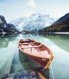 Fototapeta Fototapety z naturą - Great scene the alpine lake Braies (Pragser Wildsee).