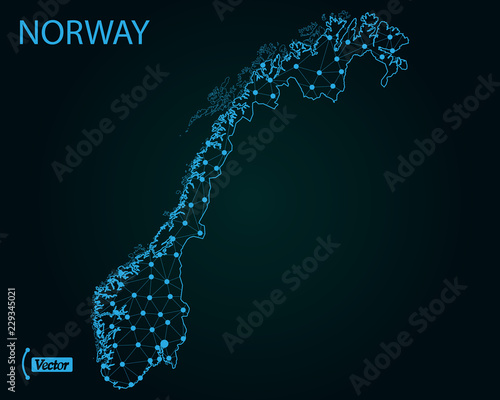 Fotografie, Tablou  Map of Norway. Vector illustration. World map