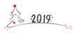 tannenbaum mit roten sternen und jahreszahl 2019