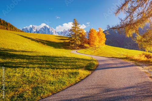 Fototapeta Magic image of alpine hills in Santa Magdalena village.