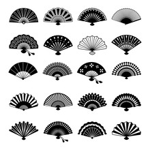 Oriental Fans Silhouettes. Vector Chinese Or Japanese Paper Fan Symbols Isolated On White Background