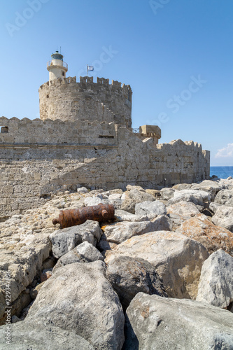 Fort of St. Nicholas in the port of Mandraki, Rhodes Greece