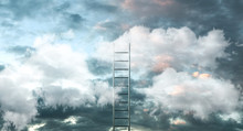 Ladder On Clouds With Sky Back...