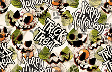 Halloween Seamless Pattern. Digital Design Elements For Halloween. Perfect For Decoration, Wrapping Papers, Greeting Cards, Web Page Background And Other Print Projects.