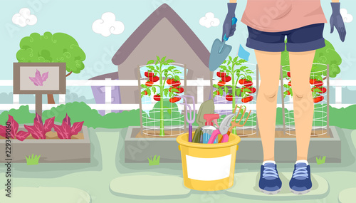 Fototapeta Girl Gardening Illustration obraz na płótnie