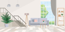 Interior Design Of Living Room With Stairs, Furniture, Large Window.