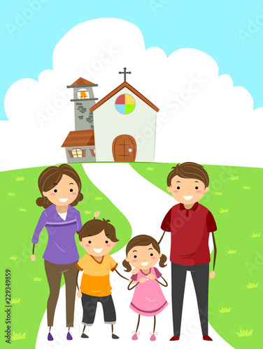 Stickman Family Attend Church Illustration Buy This Stock Vector
