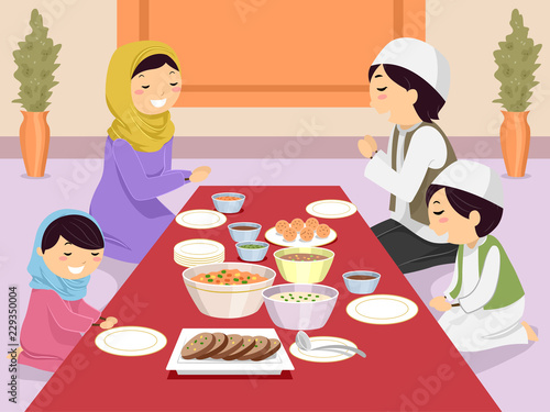 Stickman Family Muslim Pray Before Meal Fototapeta