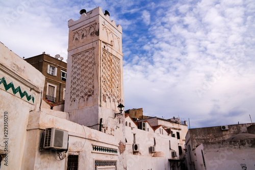 Exterior view to Mister Ramadan mosque, Casbah of Algiers, Alger Canvas Print