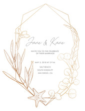 Wedding Invitation Card: Flowers, Leaves, Ocean Elements, Isolated On White. Vector Elegant Sea Card, Gold Background. Sketched Floral Branches, Starfish, Eucalyptus, Algae, Glitter Geometric Frame.