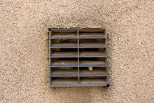 Old Metal Ventilation Grid On Traditional British House Wall Outside