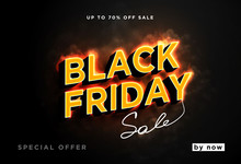 Black Friday Is Hot And Smoke. Burning Text Isolated On Black Background. Dark Web Banner For Black Friday Sale. Modern Neon Red Billboard. Concept Of Advertising For Seasonal Offer. 3d Vector