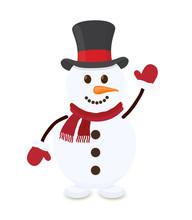 Vector Cartoon Snowman, Merry Character Of Christmas