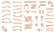 Set Of Beautiful Beige Ribbons.Vector Illustration