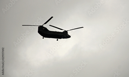 Helicopter flying over the sky