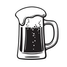 Glass Mug Of Beer. Hand Drawn ...
