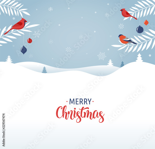 Fototapety, obrazy: Merry Christmas greeting card, banner and background in elegant, modern and classic style with winter landscape
