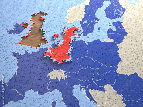 Puzzle with pieces from the United Kingdom, outside the docking region Canvas Print