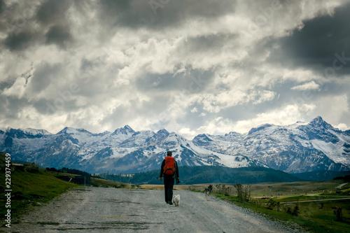Photo Persona caminando sola con dos perros en una carretera de montaña