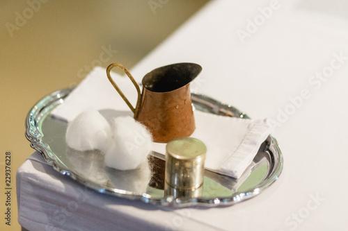 Canvas taufe mit Wasser und Chrisamöl